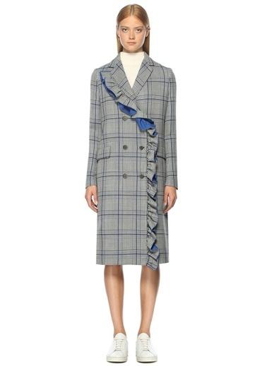 Fırfır Detaylı Desenli Palto-Msgm